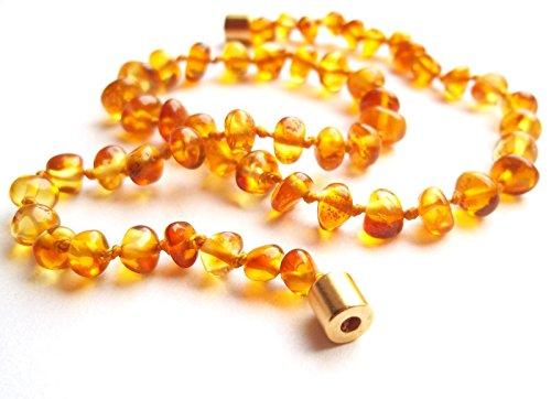 Amberta Collier Ambre 35cm. - 100% Plus Haute Qualite Certifie l'Ambre la Baltique Authentique Collier Perles. Fermoir magnétique sécurisé