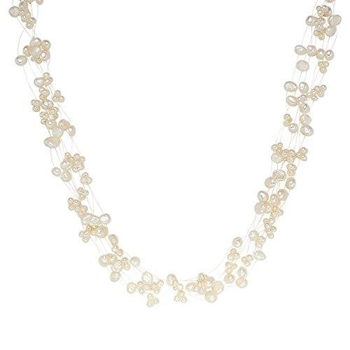 Valero Pearls Damen-Kette Hochwertige Süßwasser-Zuchtperlen in ca. 4-6 mm Barock weiß 925 Sterling Silber 43 cm + 5 cm Verlängerung - Perlenkette Halskette mit echten Perlen weiss 60200106
