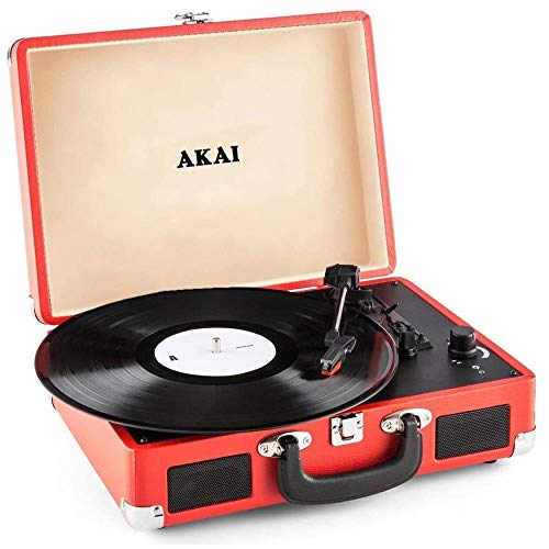 Akai - Tocadiscos de maletín Vintage, Compacto, Reproductor portátil 33-45-78 RPM, Rojo