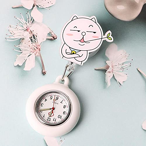 YYMY Reloj de Bolsillo con Colgante,Reloj de Bolsillo escalable de Silicona para Enfermera, Hangar médico Luminoso Estilo Clip Impermeable-Blanco 7