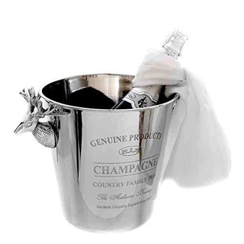 linoows Sektkühler im Retro Stil, Champagnerkühler, Flaschenkühler mit Aufschrift
