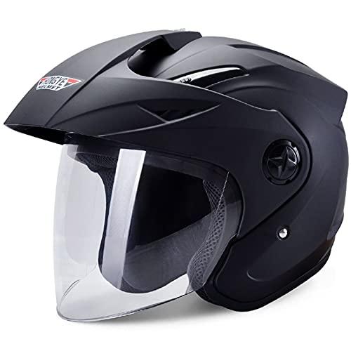 NS 3/4 Casco De Moto Abierto Media Cara con Visera Protección Solar Desmontable Desplegable Aprobado por Dot para Hombres Mujeres Adulto Scooter Crucero (Color : Black)