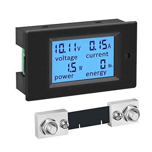Misuratore di potenza CC, ZHITING 6.5-100V 100A Multimetro digitale, display LCD RV Amperometro, pannello rivelatore Volt Amp Watt con shunt 100A