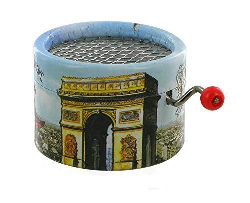 Lutèce Créations Boîte à Musique à manivelle en Carton renforcé et décoré de l'arc de Triomphe et du Sacré Coeur de Paris (Réf: PML-04) - La complainte de la Butte (Georges Van Parys)