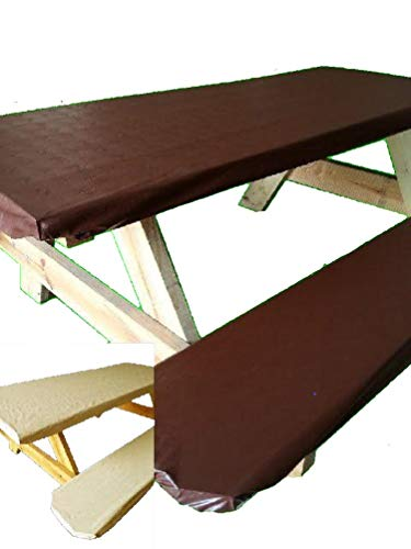 Embossed Pattern Stretch to fit 3 Pc Vinyl Picnic Table Cover fits 6 ft Tables and Benches Off White Cream