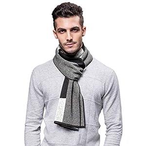(アクアランド) AQUALAND マフラー メンズ ロングマフラー ウールタッチ ふんわり 2パターン ストライプ 羊毛 ニットウール スカーフ 防寒対策 クールカジュアル (ホワイト/ブラック)