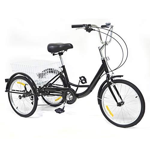 Ruota dentata da 20 pollici per adulti, 8 velocità, per adulti, con cestino, 3 biciclette, per adulti, Tricycle Comfort, bici per sport all aria aperta, City Urban (20 pollici, nero)