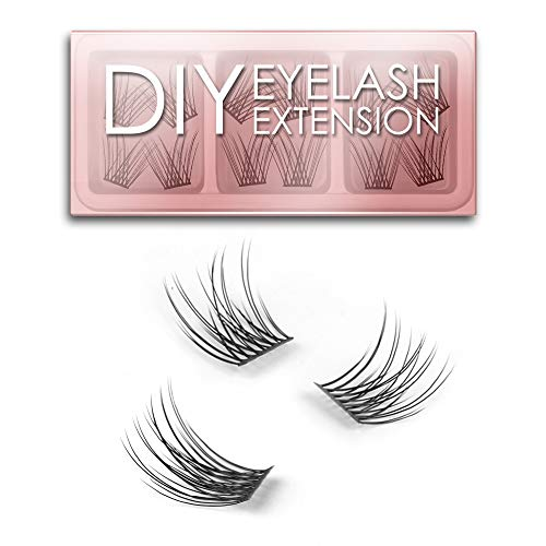 EYELASHEVOLUTION DIY Eyelash Extension, 3D Effect Glue Bonded Band Individual Lash 12 Clusters Volume/Natural Lashes Set, Home Eyelash Extension, C curl Lashes Pack (10mm-Natural)