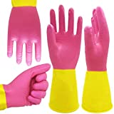 ROYAKI Chemical Gloves,Waterproof Cleaning Protective Flock Lined Heavy Duty Rubber Gloves,12.2 ', 2 Pairs Size Medium