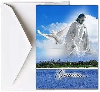 Tarjetas Funerales de Agradecimiento, Tarjetas de Gratitud, Tarjetas de Gracias (25 Cantidad) FTKC1227ES Dios Mirando (En Blanco - Impreso por usted)