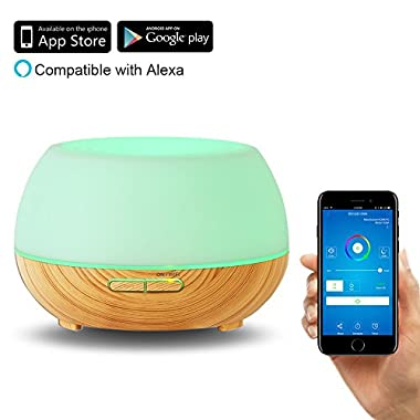 Aroma Diffuser 300ml, MOURVE Wifi Essential Oil Air Purifier Compatible with Alexa Ultrasonic Cool Mist Humidifier Works with App Remote Control, 8 Hours Mist Mode and 7 Color Lights