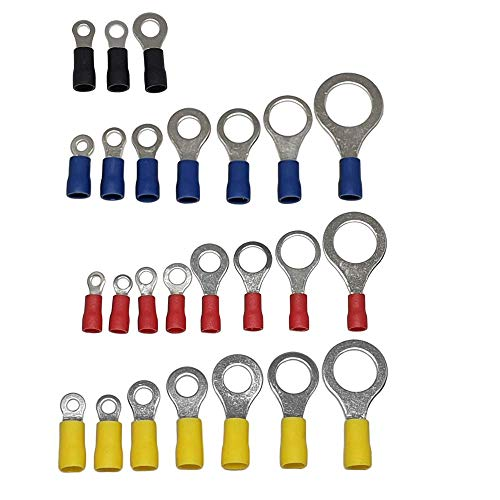 Ringkabelschuhe Ringverbinder Kabelverbinder 0,5mm² - 6mm² isoliert (25, 2,5 - 4mm² / M6 (schwarz))