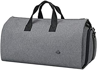 Convertible Garment Duffel Bag Waterproof 2 in 1 Carry on Business Trip Suit Travel Bag with Shoulder Strap, Shoe Pouch for Men Women (Dark Gray)