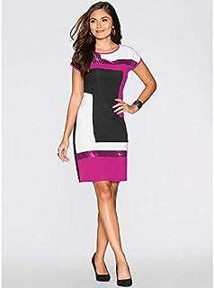 DingXW パーティードレス、デイリーカジュアルレディーススリムパッチワークミニ半袖スパンコール帝国Oネックポリエステルスパンデックスドレス女性のための (Color : Red, Size : M)