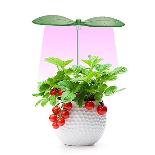 Anpro LED Plant Grow Light - Leaf Plant Light for Indoor Plants, Grow Lamp with Red Blue Spectrum, Height Adjustable, 3H/9H/12H Timer& 9 Dimmable Brightness Levels, 5V Low Safe Voltage, 10W