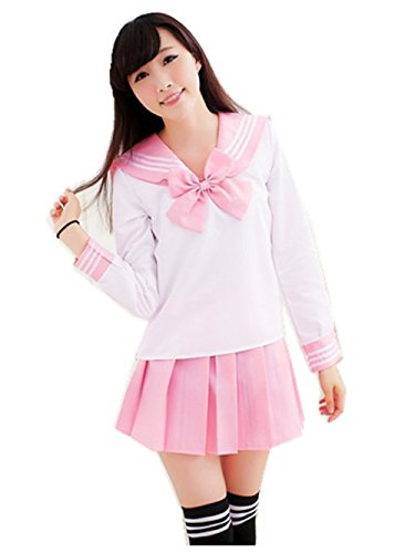 Crazy lin Schöne Japan Schuluniform Studenten Uniform Set Matrosenanzug Cosplay Kostüme (Rosa, M)