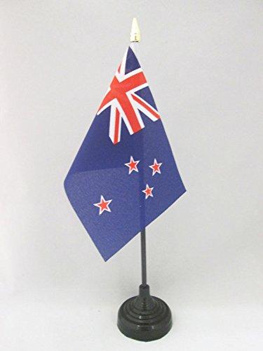 AZ FLAG New Zealand Table Flag 4'' x 6'' - New Zeleander –Kiwi Desk Flag 15 x 10 cm - golden spear top