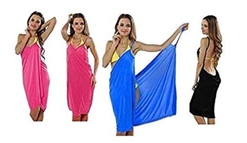 Premium (2 en 1) Vestido de playa ventilado – Pañuelo cambiador para pañales Túnica Pareo Sarong – Negro ⭐