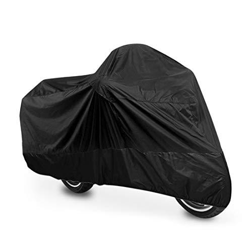M-Bike - Funda universal para moto, color negro, impermeable, 210 x 120 cm, resistente al agua, al polvo, la lluvia y el viento, para moto, ciclomotor, scooter, bicicleta o moto