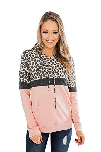ANFTFH - Sudadera casual de manga larga con cordón con capucha y estampado de leopardo para mujer