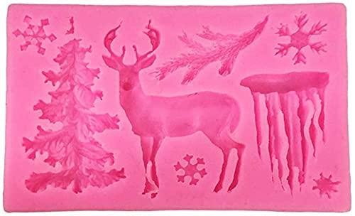 hwljxn 3D Christmas Theme Deer Silicone Mold Snowflake Chocolate Cake Fondant Mould DIY Crafts Decoration Baking Tools