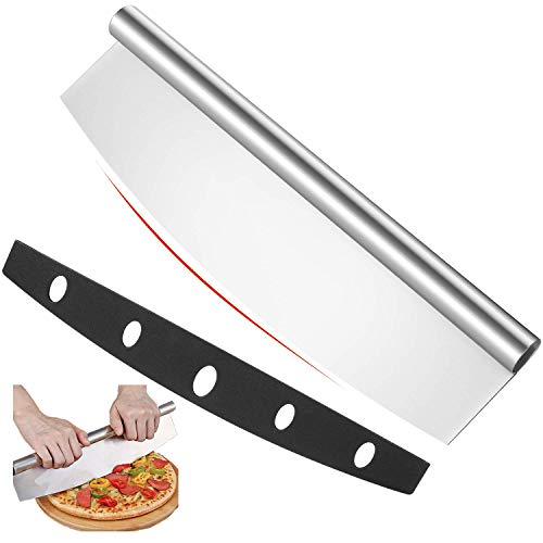 14 inch Pizza Cutter Rocker Slicer with Protective Cover, Pizza Chopper Accessories Set of Sharp Blade, Premium Stainless Steel Pizza Knife Tools for Kitchen by Lascritta (14 inchs)