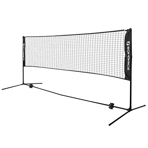 SONGMICS Badminton Net Set, Portable Sports Set for Badminton, Tennis, Kids Volleyball, Pickleball, Easy Setup, 13 Feet Long Nylon Net with Poles, for Indoor Outdoor Court, Black USYQ400H