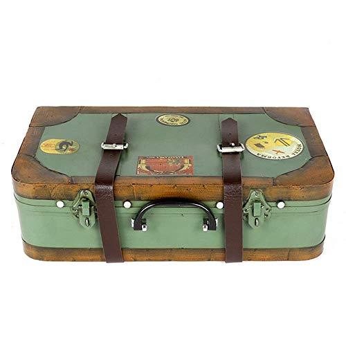 MERCB Caja de Almacenamiento Vintage 38x11x21cm Cofre del Tesoro Antiguo de joyería Retro Almacenamiento de Equipaje Estaño Decoración del hogar Maletas (Color: Verde, Tamaño: