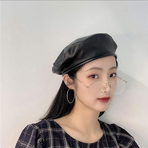 Sombrero de Pintor Rojo otoño e Invierno Moda Coreana Japonesa Cuero PU Boina Simple Sombrero de Copa Plano