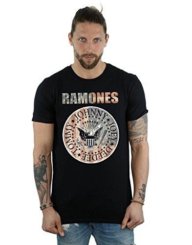 Ramones Hombre Flag Seal Camiseta X-Large Negro
