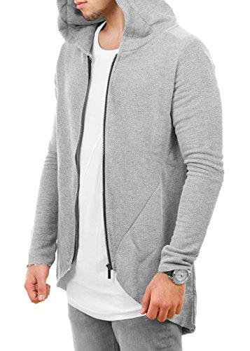 Redbridge Herren Strickjacke Sweater Oversized Pullover Kapuzenpullover (Grau, Gr.M)