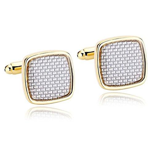 AnazoZ Gemelos para Hombre Gemelos de Acero Inoxidable Cuadrado Gemelos para Hombre Plata Oro Gemelos Camisas Hombre