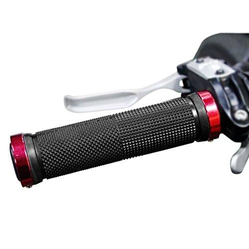 FakeFace 1 coppia di manopole universali per manubrio della bicicletta, 22 mm di diametro, morbide manopole a vite doppie, in gomma antiscivolo, per mountain bike, BMX, Urban, Donna, rosso e nero.