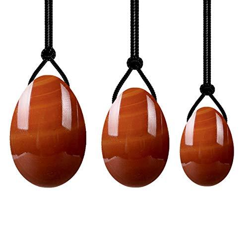 Huevos de jadeNatural Jade Yoni Juego de Huevos Mujeres Suelo pélvico Músculo Kegel Ejercicio Yoni Huevos-Huevos de cornalina
