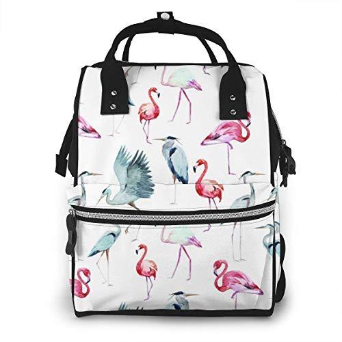 Damen Rucksack mit Reißverschluss, großes Fassungsvermögen, Schwimmwindeln, Flamingo