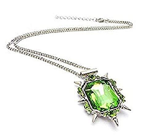 Legisdream Kristall Anhänger Halskette Green Film von The Wizard of Oz Silber Jewel Hexe des Westens Festival Geschenk Frau Amica Freundin