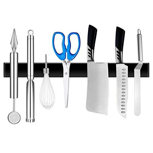 YJHome Soporte magnético para cuchillos de acero inoxidable, 50 cm, extra fuerte, autoadhesivo, magnético, de alta calidad, para cuchillos, utensilios de cocina (negro)