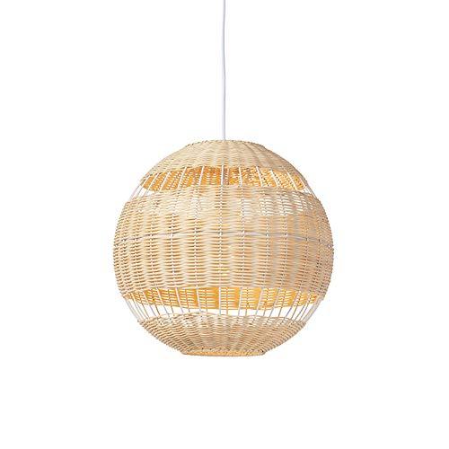QAZQA - Art Deco Rattan Hängelampe | Pendellampe | Pendelleuchte | Esstisch | Esszimmer ländlich - Rattan | Wohnzimmer | Schlafzimmer | Küche - Bamboo Rund - LED geeignet E27
