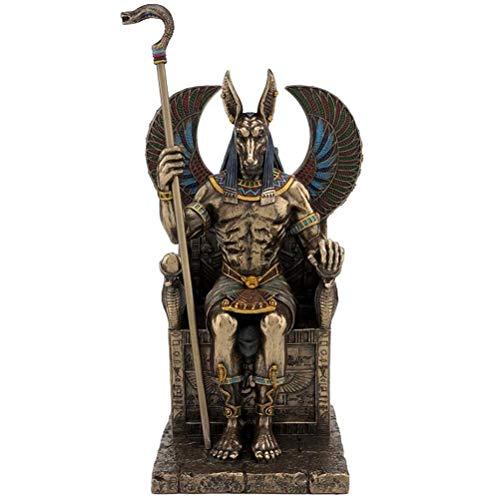 Studio Collection Statue d'ANUBIS Dieu Egytien Antique Neuve polyrésine Couleur Bronze Laiton Figure Egypte Dieu funéraire