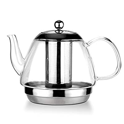 TOYO HOFU Clear Glass Loose Leaf Teapot with Removable Grade 304 Stainless Steel Infuser & Lid, ,Large capacity(1600ml/54oz),Stovetop Safe