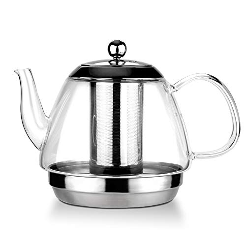 TOYO HOFU Clear Glass Loose Leaf Teapot with Removable Grade 304 Stainless Steel Infuser amp Lid Large capacity1600ml/54ozStovetop Safe