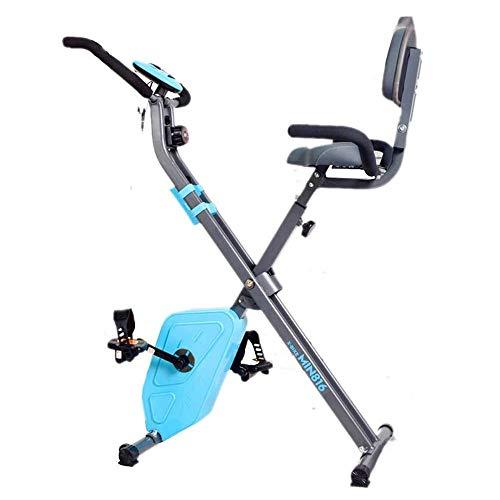 Plegable Bicicleta estática, plegable magnético Bicicleta de ejercicio vertical con 8 niveles de resistencia, frecuencia cardíaca, velocidad, tiempo, distancia, calorías del monitor, inmóvil de la apt