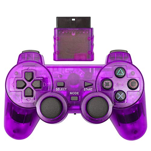 Cotchear Wireless Gamepad for PS2 Controller for Playstation 1 2 Console Joystick Double Vibration Shock Joypad Wireless Controle - Purple