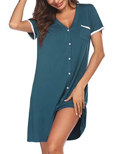 Ekouaer Short Sleeve Nightgowns for Women, Cute Sleepwear Button Down Sleep Shirt Dress (Blue-Green, X-Large)
