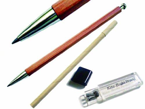 Kitaboshi 2.0mm Mechanical Pencil, Wooden Barrel with Pocket Clip, #1 B, Black Lead, 1ea (OTP-680NCP), natural wood color w/clip Photo #3