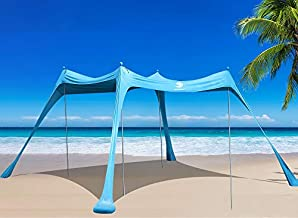 BOTINDO Family Beach Tent Sunshade, Canopy Pop Up Sun Shelter 4 Pole with Carry Bag for Beach, Fishing, Backyard, Camping and Outdoors
