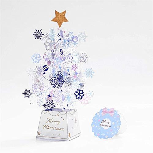 HHYSPA Christmas Tree 3D Card Christmas Greeting Card Thanksgiving Card Transparent Stars Snowflakes Blue
