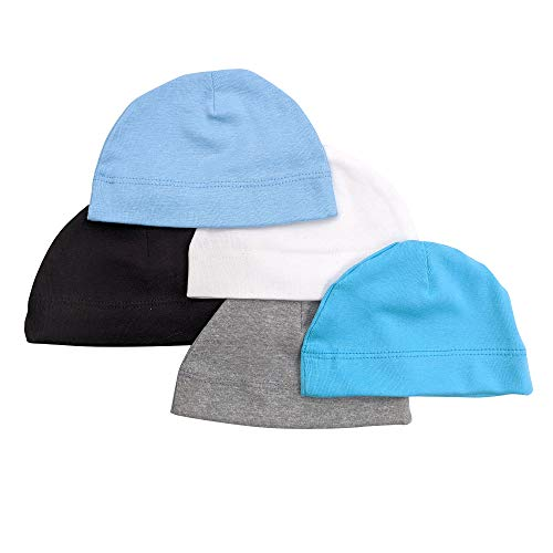 Betty Dain Jersey Knit 5 Piece Infant/Baby Cap, Set of 5 Soft Baby Beanies, Assorted Colors, 100% Cotton Stretch, Boys, Machine Washable, Grey/White/Black/Aqua/Blue