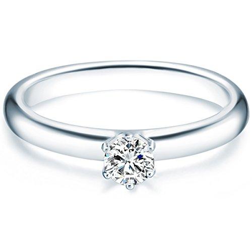 Tresor 1934 Damen-Ring/Verlobungsring/Solitärring Sterling Silber rhodiniert Zirkonia weiß 60451011