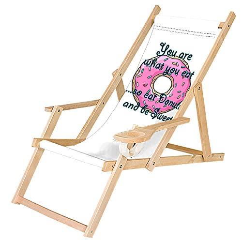 Ferocity Tumbona Plegable de Madera con Reposabrazos y Soporte para Bebidas Silla de Playa Personalizable Diseño Donut You Are What You Eat [119]